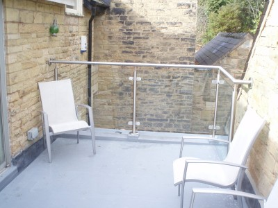 Fibreglass balcony with glass balustrade