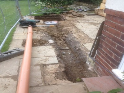 Soak away was dug into back garden for removal of access rain water run off from gutters.