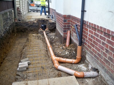 Installation of new drains for utility room and downstairs wc.