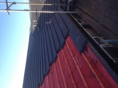 Roofing tiles being installed by our roofers in Sheffield.