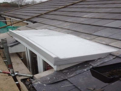 Dorma Roof fiberglassed in Light Battleship Grey.