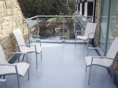 Fibreglass balcony and glass balustrade