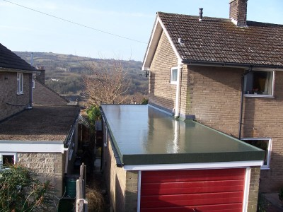 Roofers in Sheffield - fibreglass flat roof on a garage