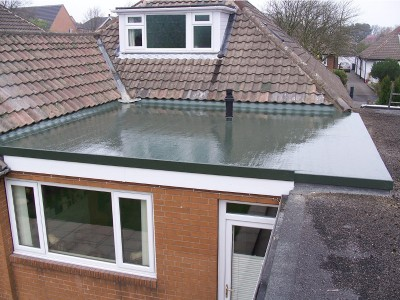 Fibreglass flat roof on a kitchen extension